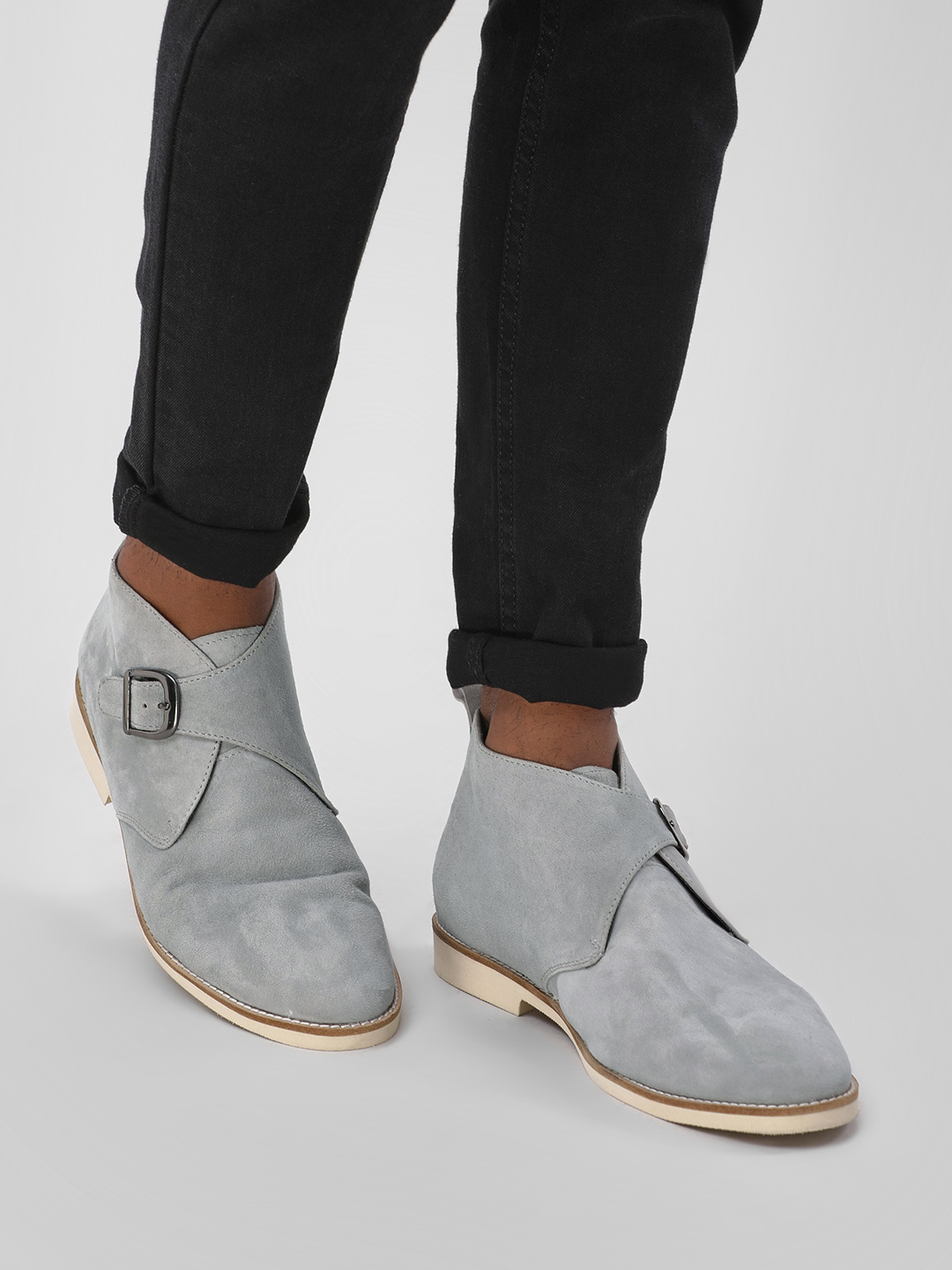 Griffin Grey Suede Overlap Ankle Boots 1