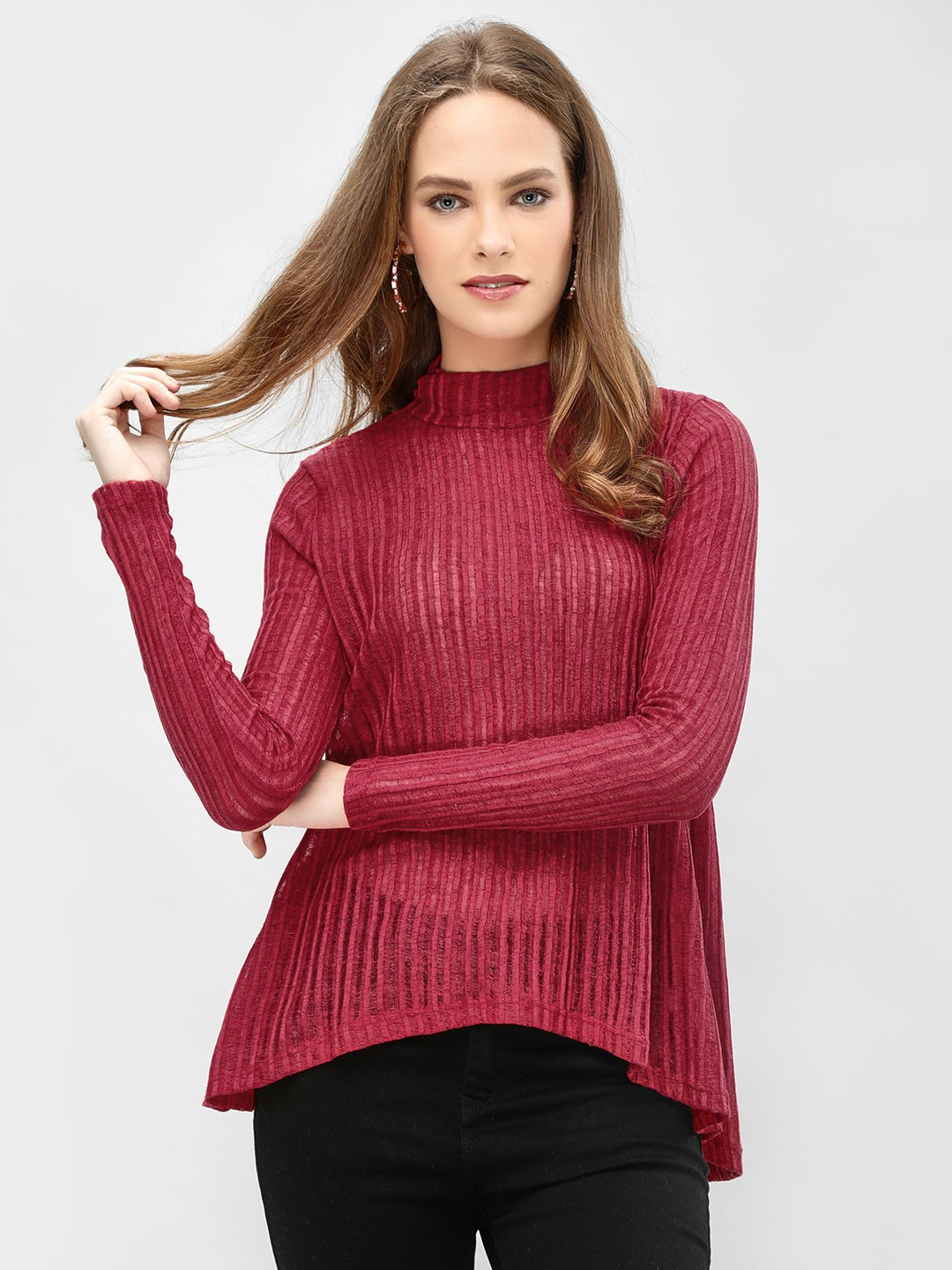 Femella Red High Neck Ribbed Top 1