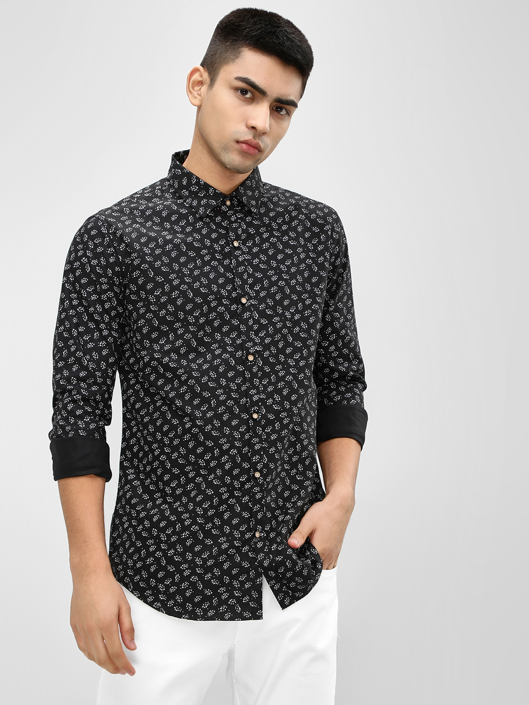 Mr Button Black Leaf Print Casual Shirt 1