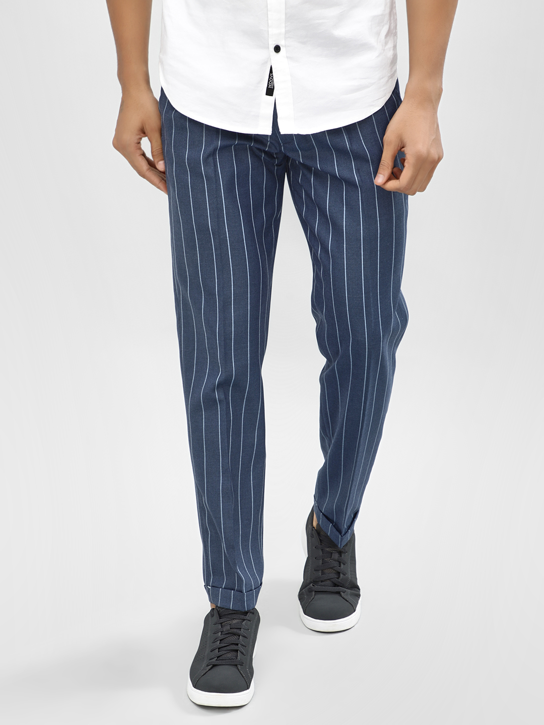 Mr Button Blue Yarn Dyed Striped Slim Trousers 1