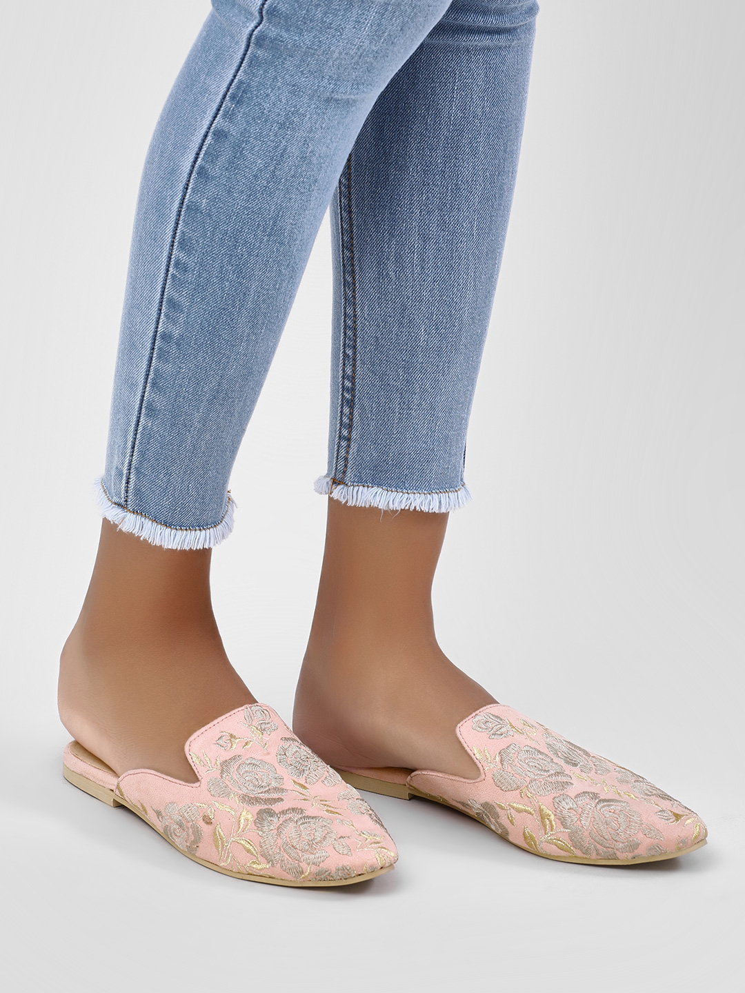 KOOVS Nude Embroidered Mule Loafers 1