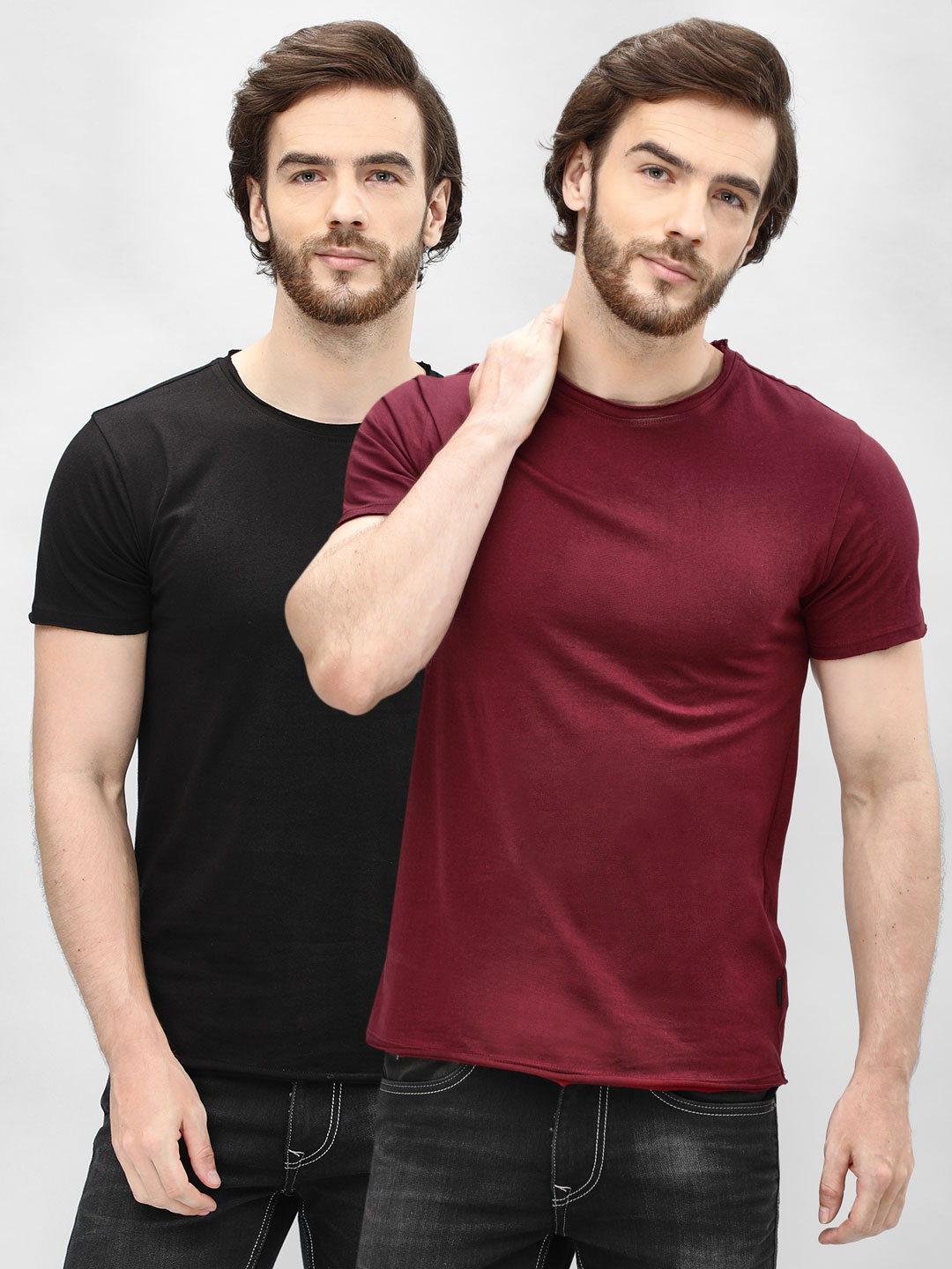 KOOVS Black/maroon Basic Crew Neck T-Shirt (Pack Of Two) 1