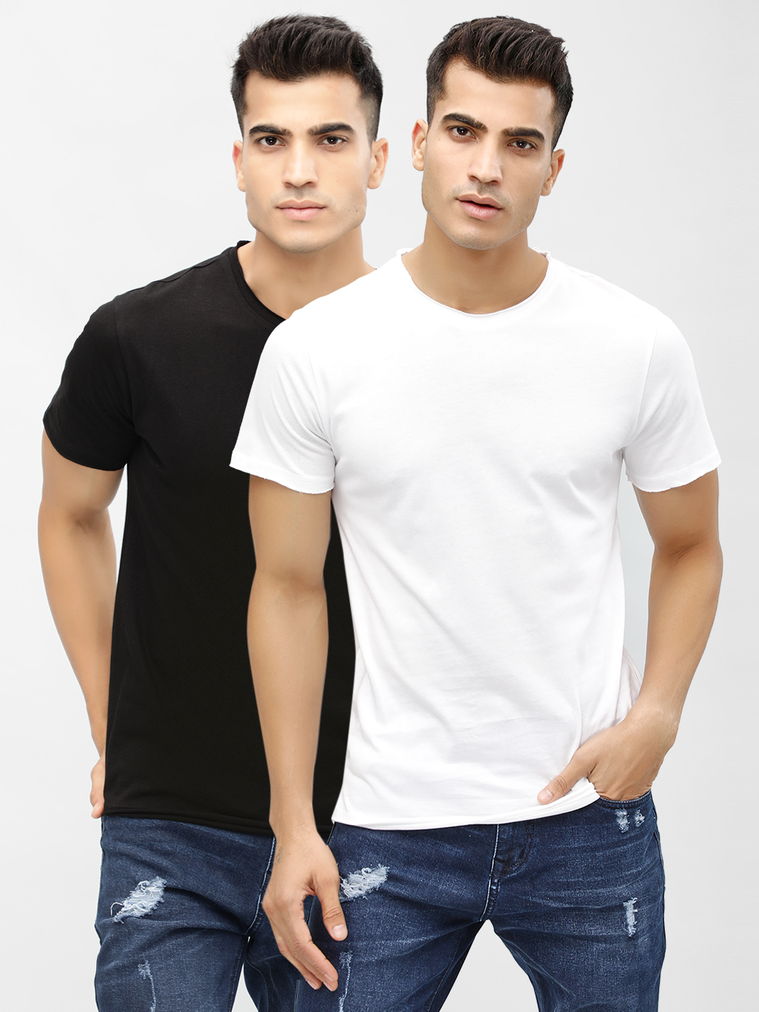 KOOVS Black/White Basic Crew Neck T-Shirt (Pack Of Two) 1