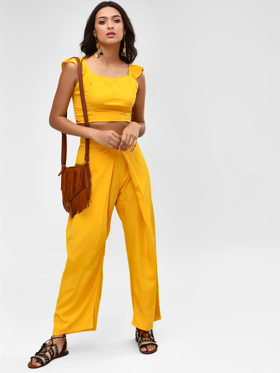 Rena Love Yellow Pleated Front Palazzo Pants 1