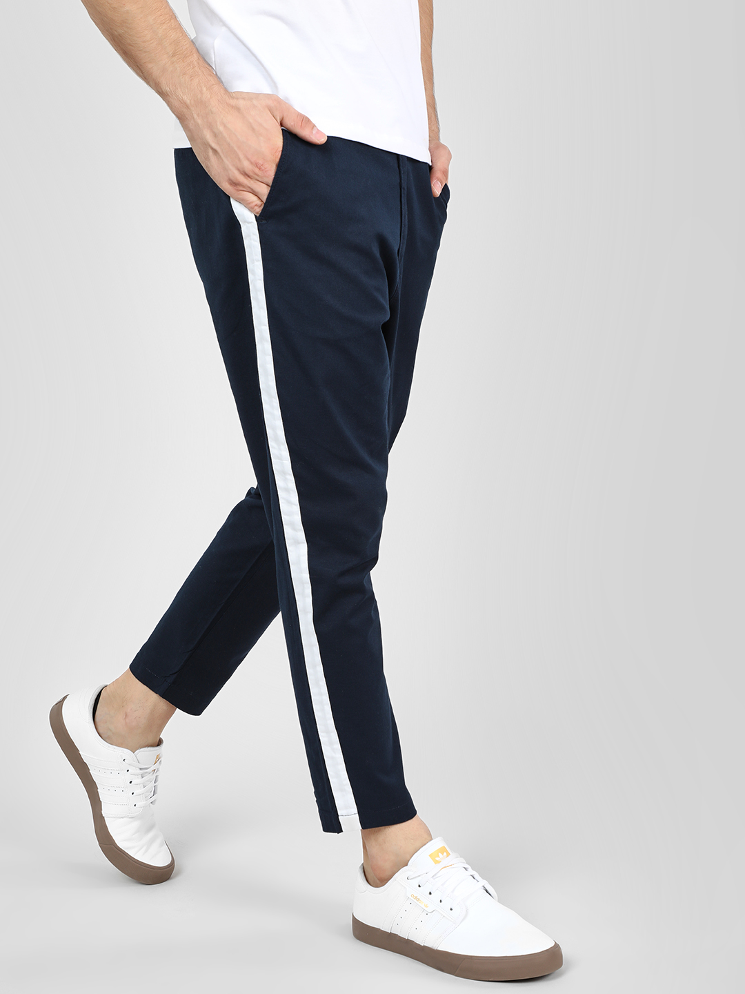 Spring Break Navy Contrast Side Tape Cropped Slim Trousers 1