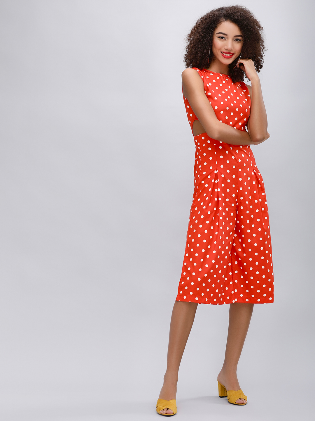 KOOVS Orange/white Polka Dot Culotte Jumpsuit 1