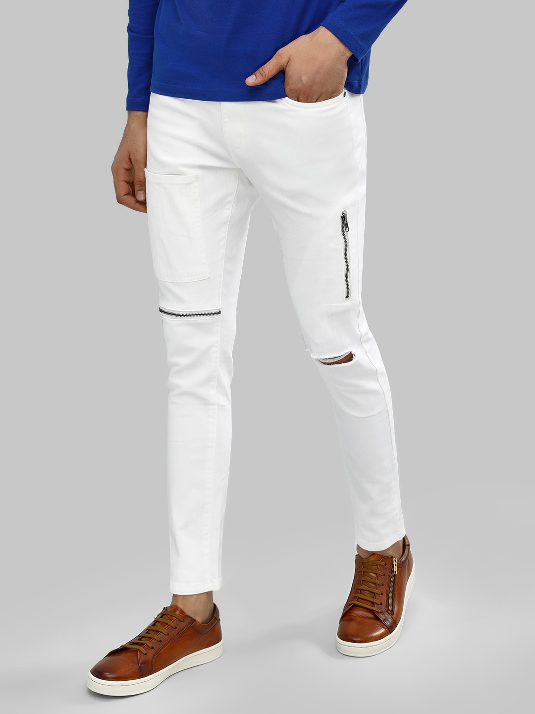 Kultprit White Slim Fit Jeans With Knee Zip 1