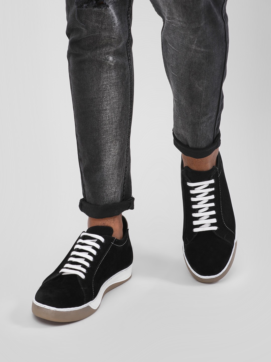 KOOVS Black Skate Lace-Up Casual Shoes 1