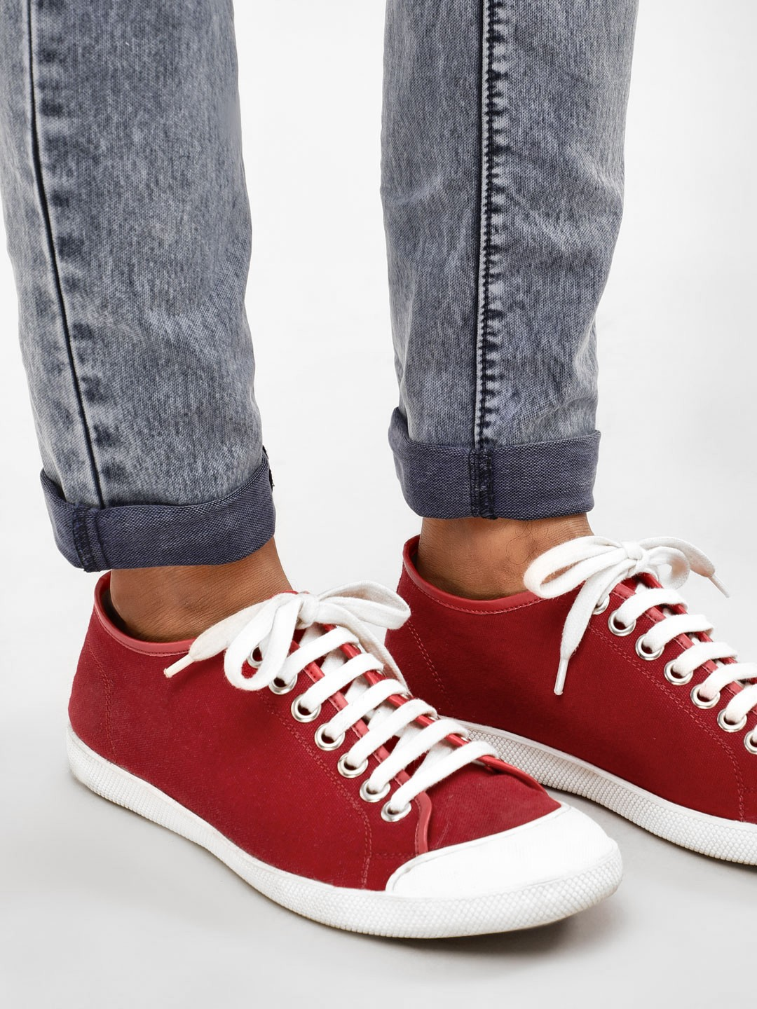 KOOVS Red Basic Canvas Plimsoll Shoes 1