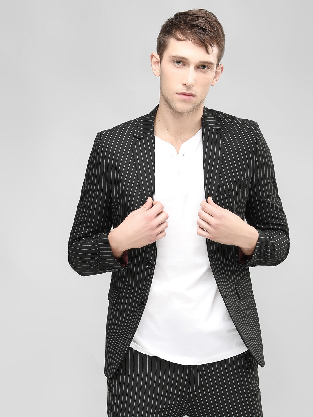 KOOVS Black Striped Slim Fit Blazer 1