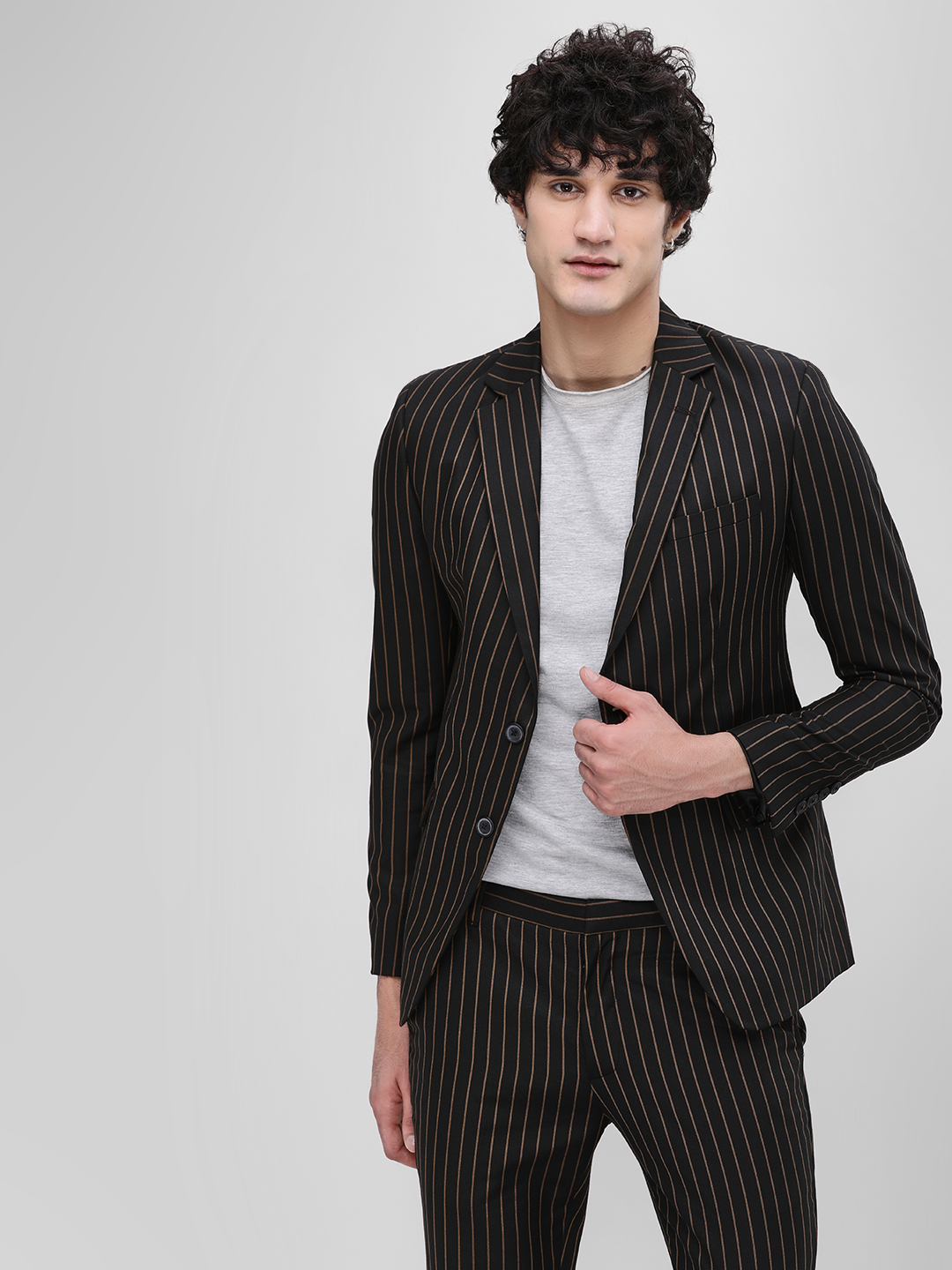 KOOVS Multi Striped Single Breasted Jacket 1