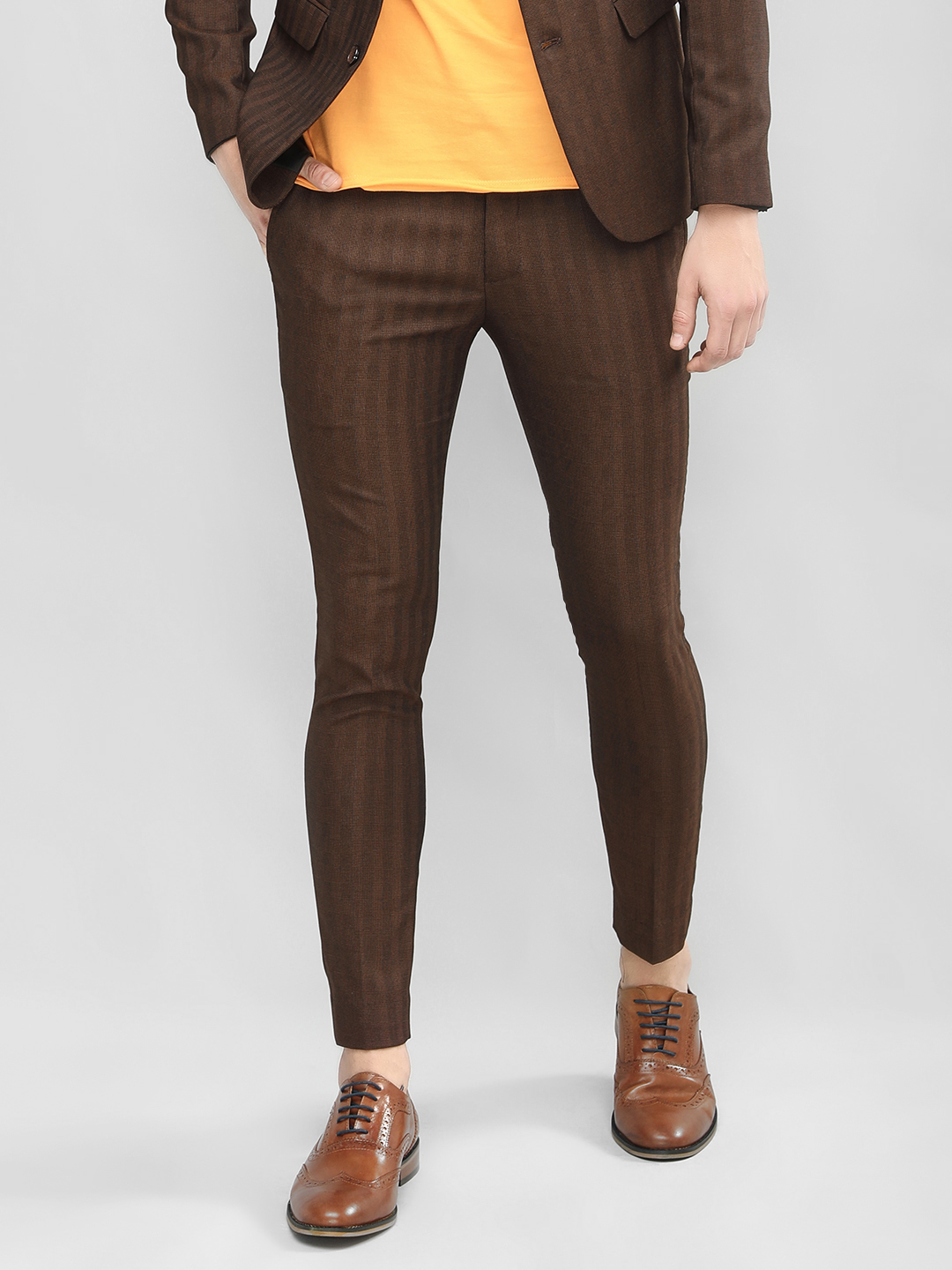 KOOVS Brown Skinny Fit Formal Trousers 1