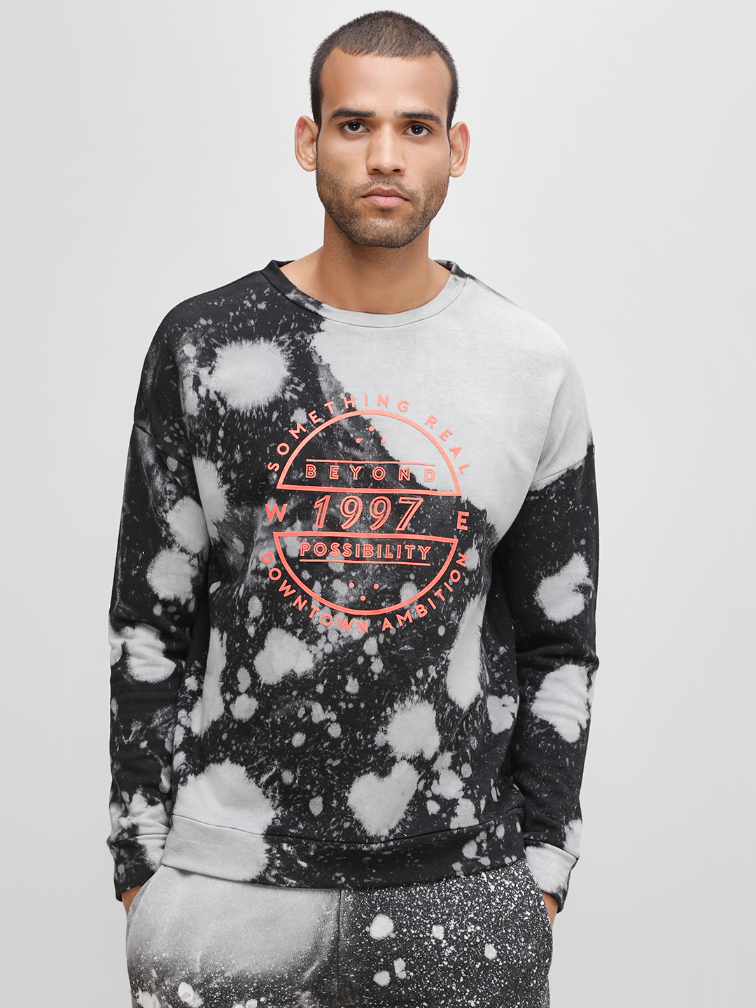 KOOVS Multi Extreme Washed Slogan Sweatshirt 1