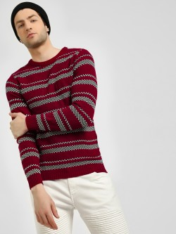 KOOVS Checkered Stripe Jaqcuard Pullover