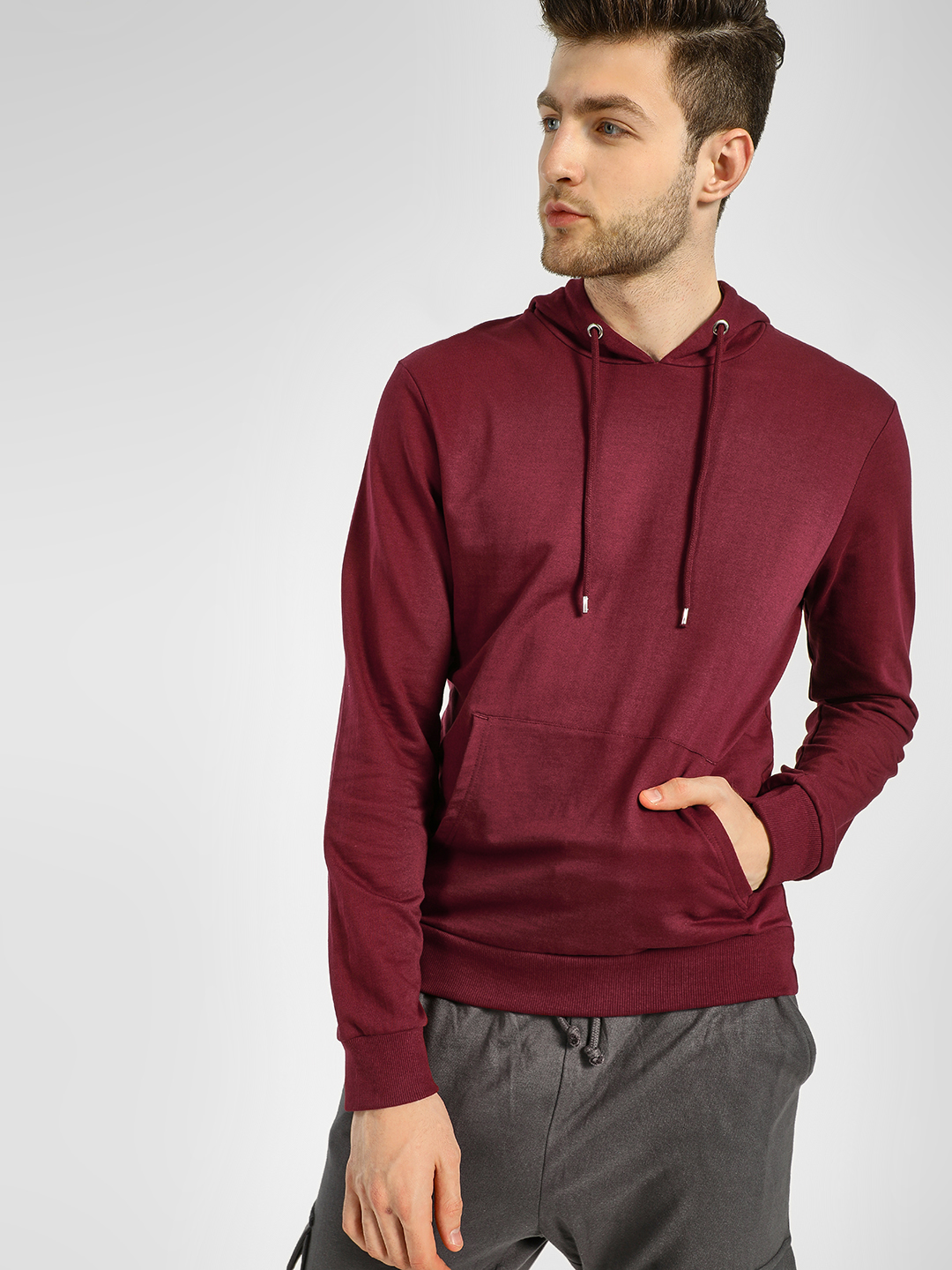 KOOVS Maroon Basic Casual Hooded Sweatshirt 1