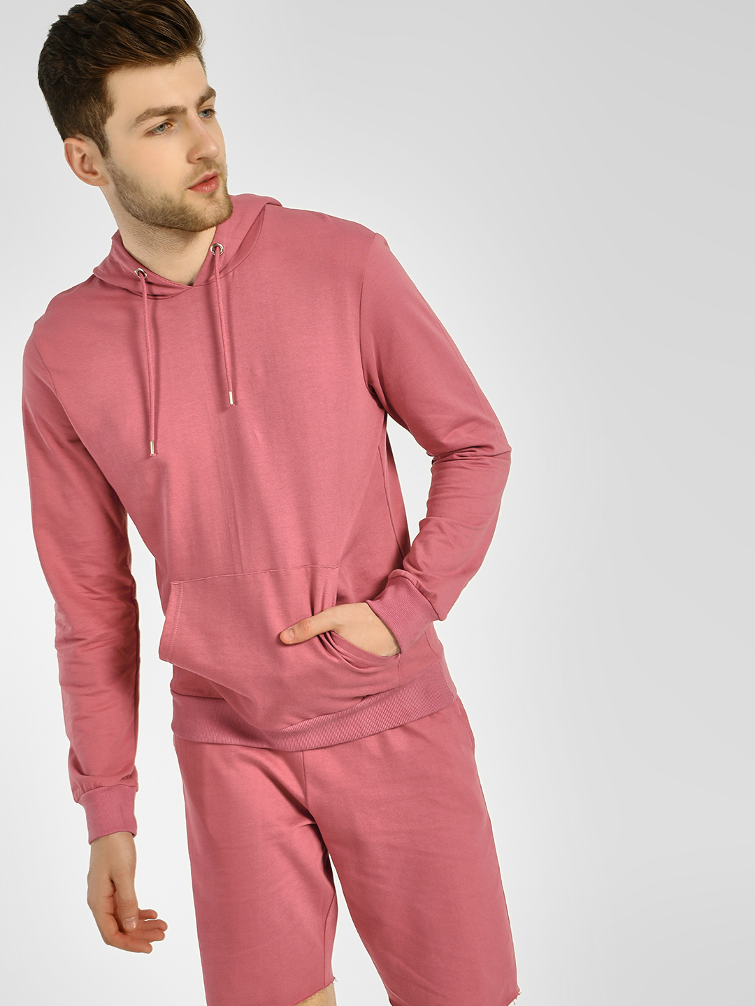 KOOVS Pink Basic Casual Hooded Sweatshirt 1