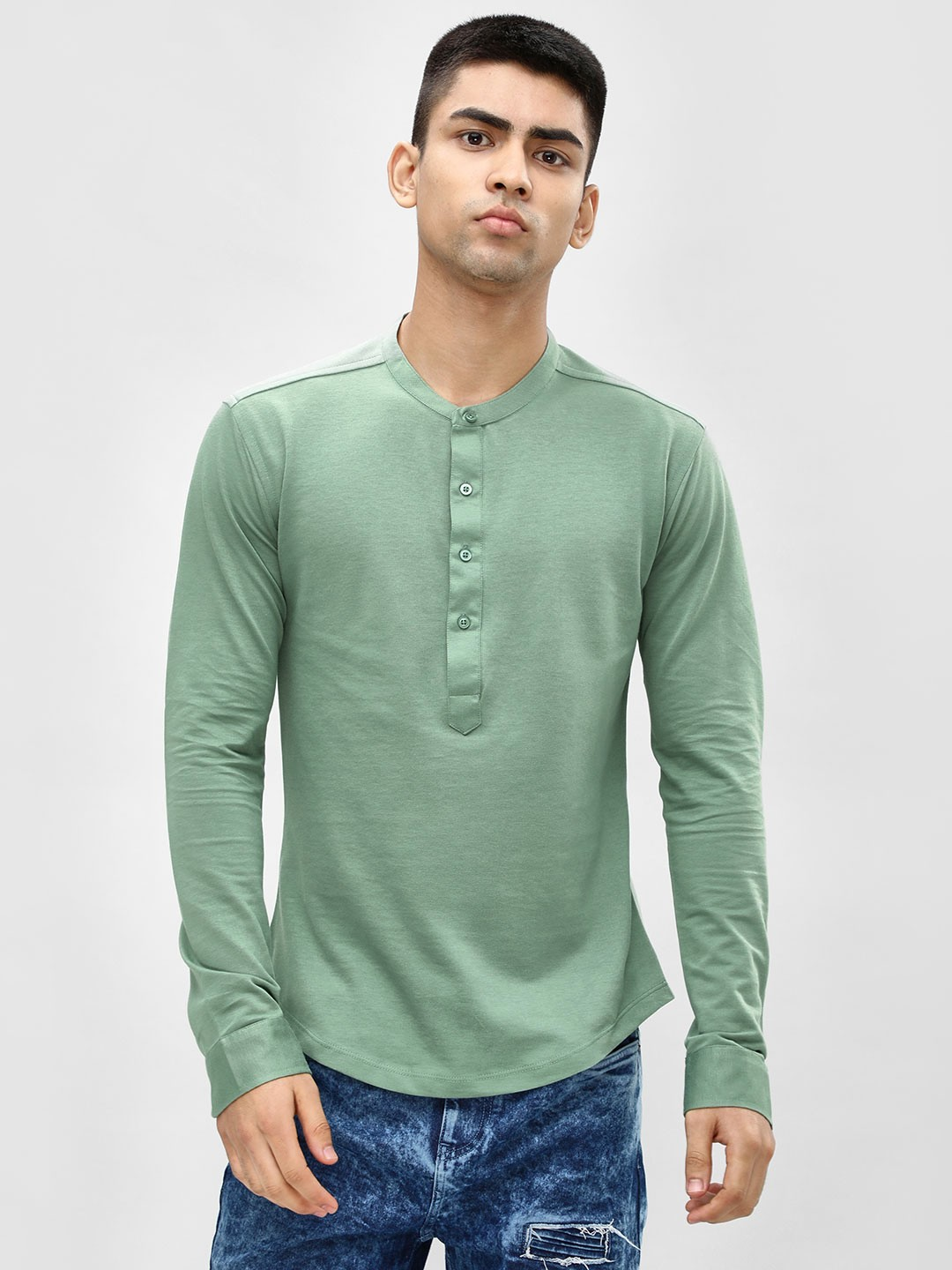 KOOVS Green Grandad Collar Slim Knitted Shirt 1