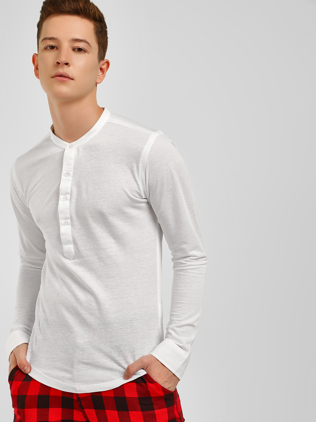 KOOVS White Grandad Collar Slim Knitted Shirt 1