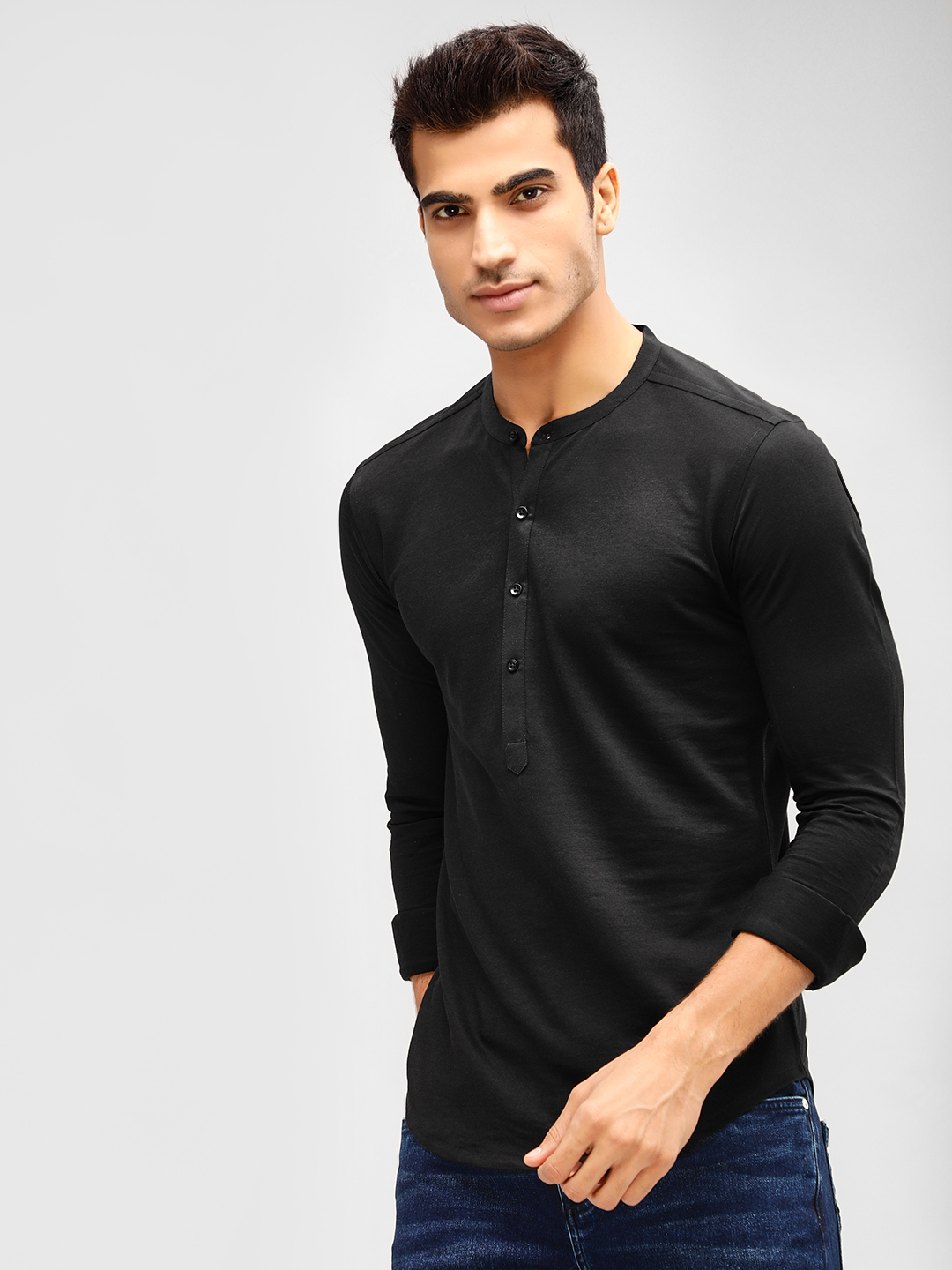 KOOVS Black Grandad Collar Slim Knitted Shirt 1