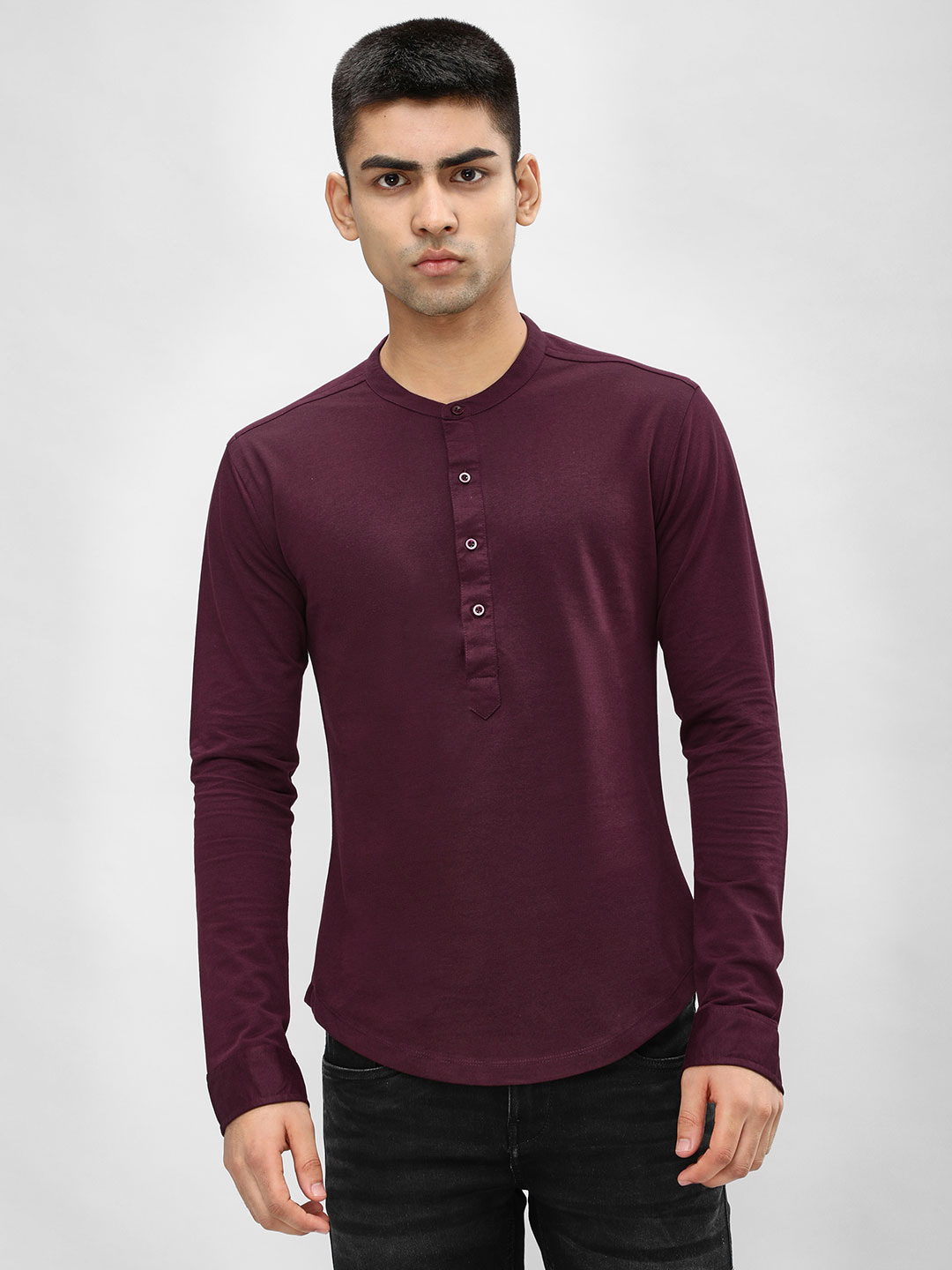 KOOVS Maroon Grandad Collar Slim Knitted Shirt 1