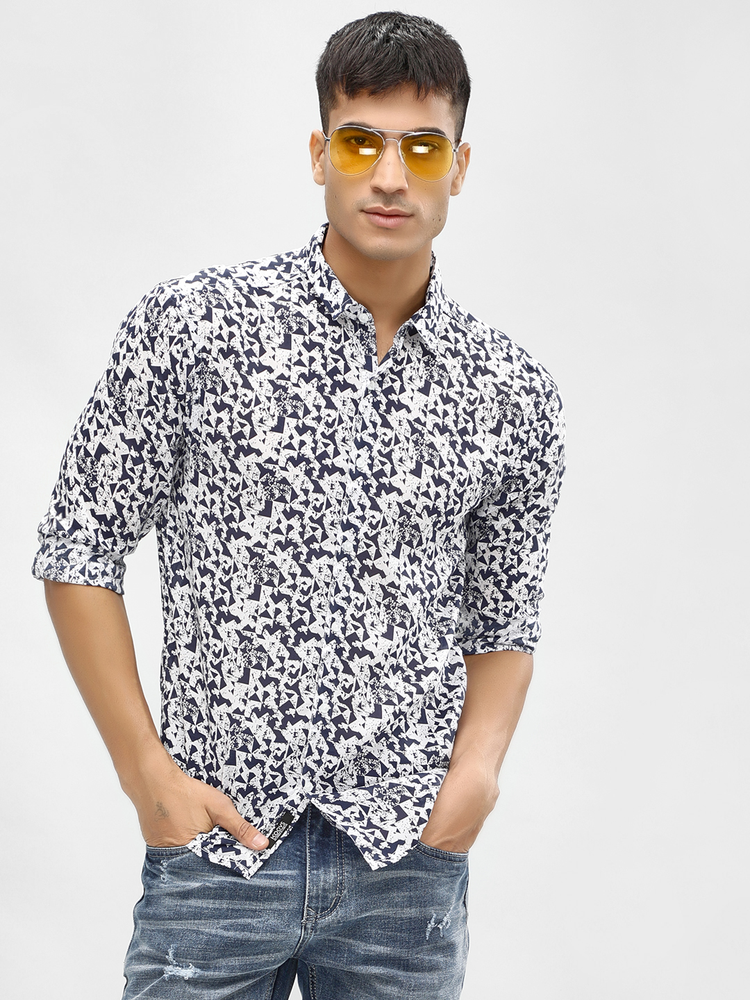 KOOVS Multi Abstract Geometric Print Shirt 1