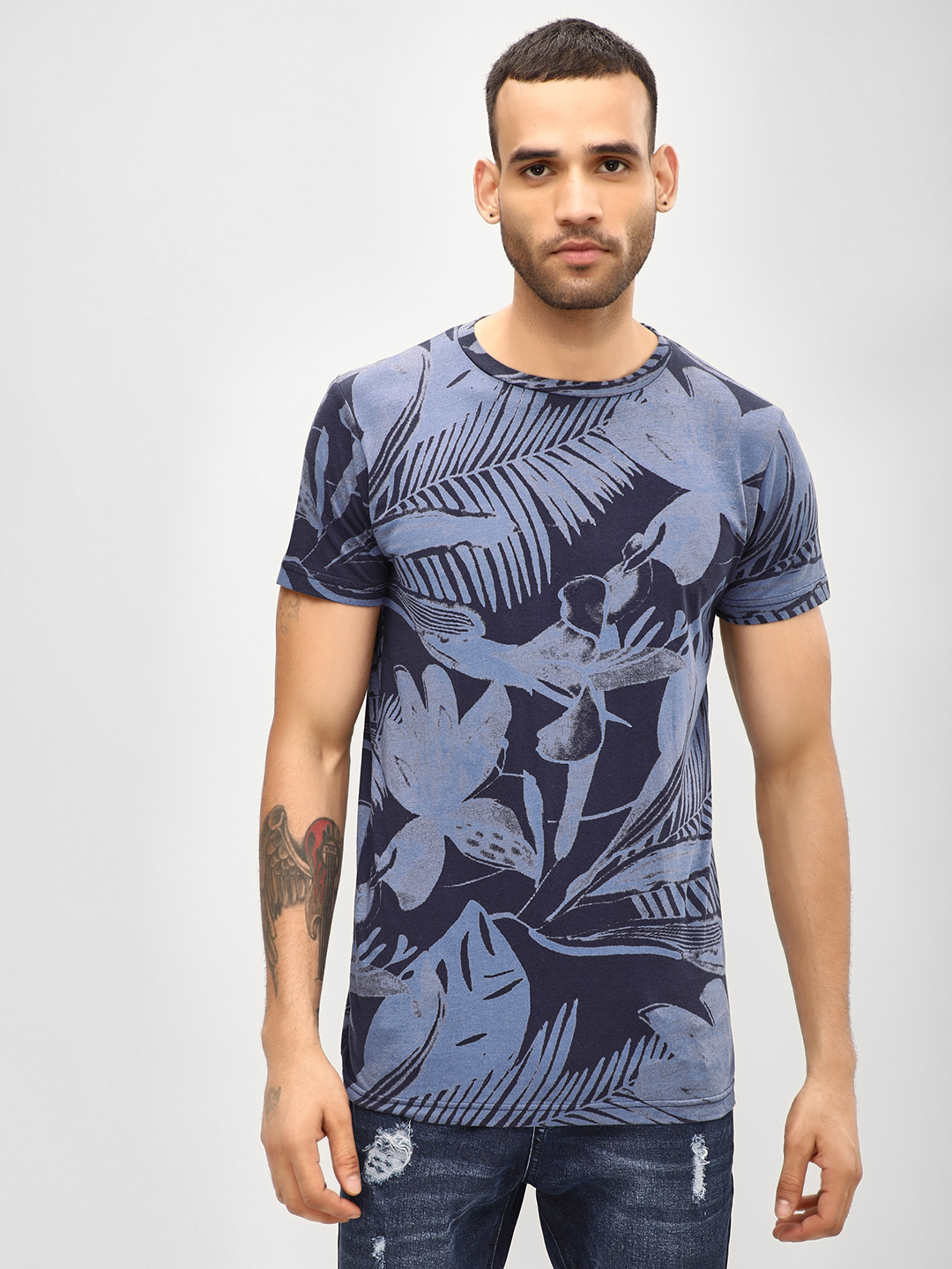 Spring Break Navy Floral Slim Fit T-Shirt 1