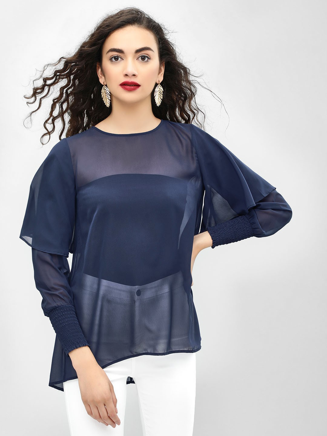 Femella Navy Flared And Layered Sleeve Top 1