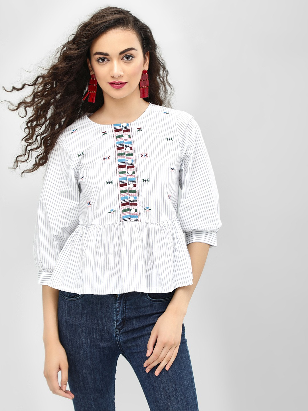 Sbuys STRIPE Embroidered Front Striped Peplum Blouse 1