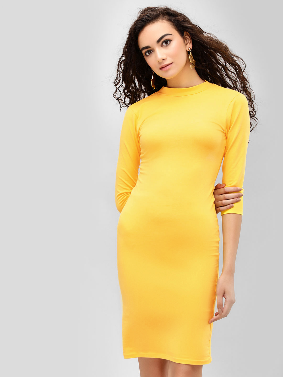 KOOVS Old Gold High Neck Bodycon Dress 1