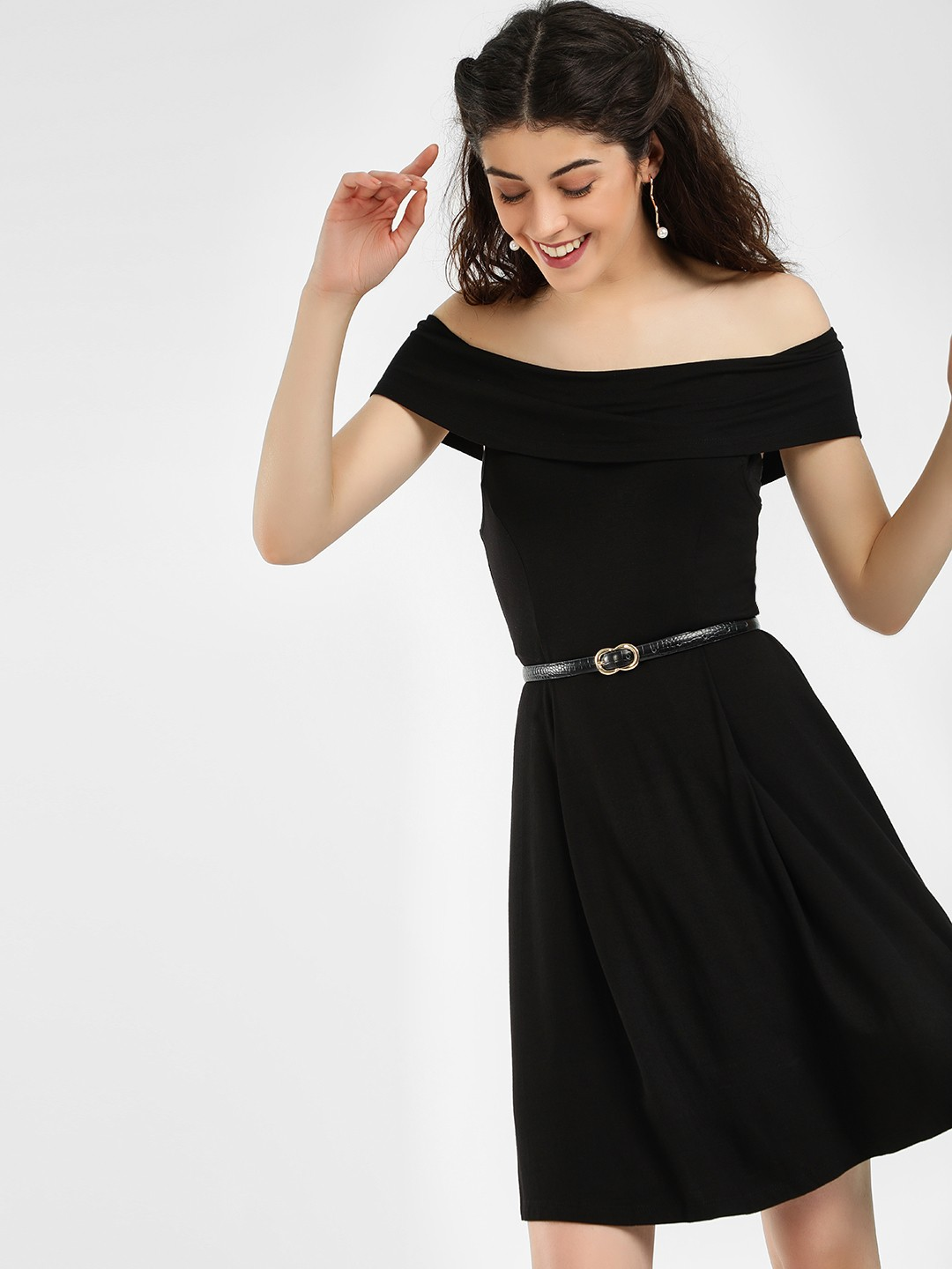 KOOVS Black Off Shoulder Skater Dress 1