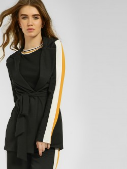Quiz Contrast Side Stripe Tie Belt Blazer