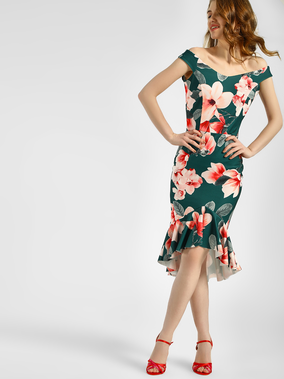 Quiz Green/Pink Floral Print Bardot Bodycon Dress 1