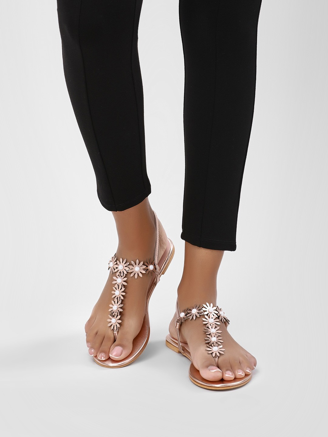 KOOVS Rose Gold Pearl And Flower Detail Sandals 1