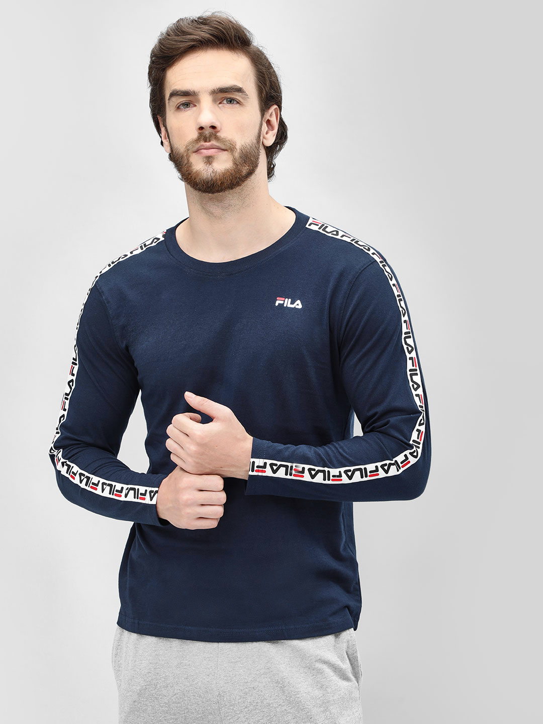 Fila Blue Logo Tape Long Sleeve T-Shirt 1