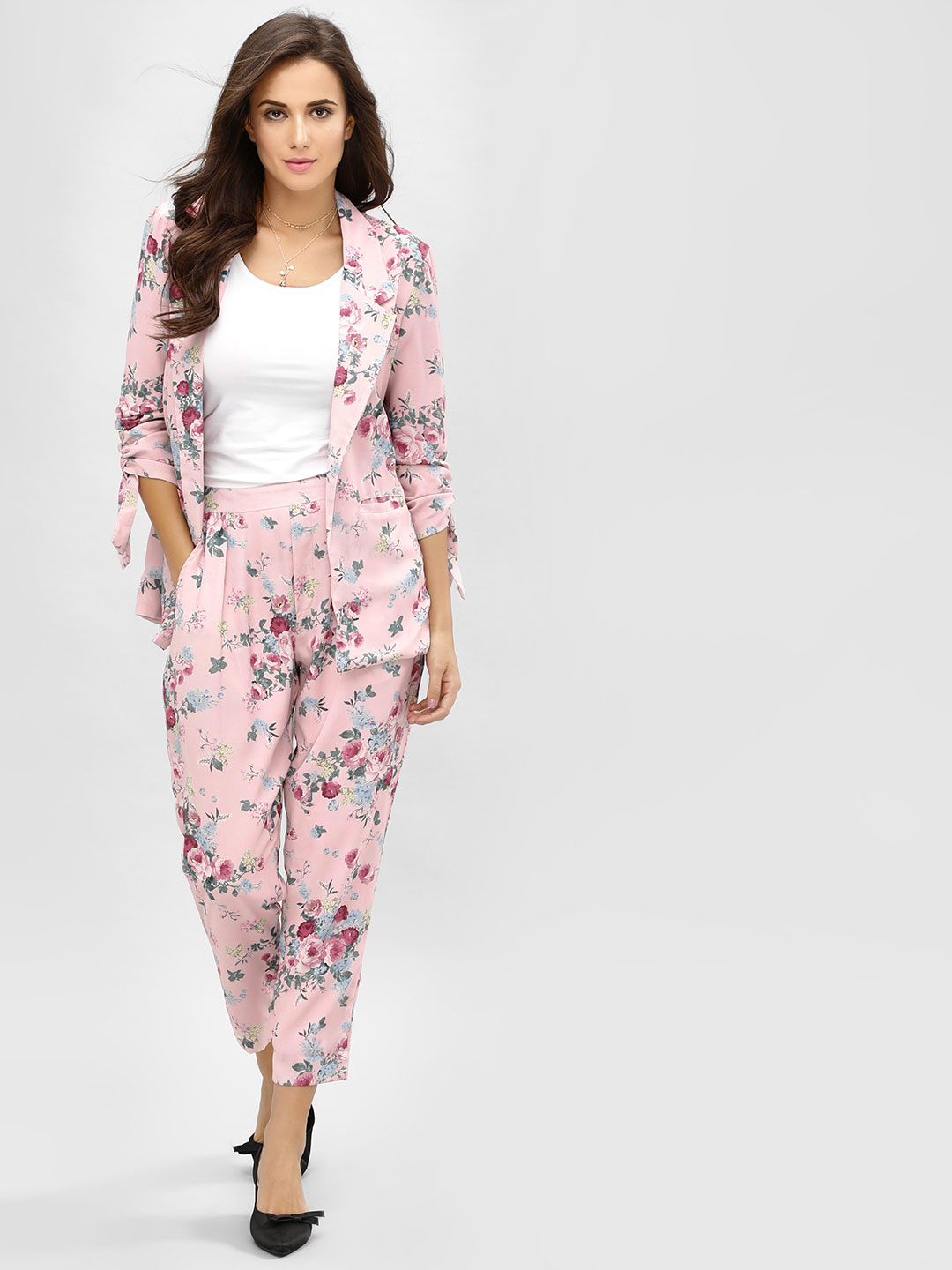 KOOVS Multi Floral Print Cropped Trousers 1
