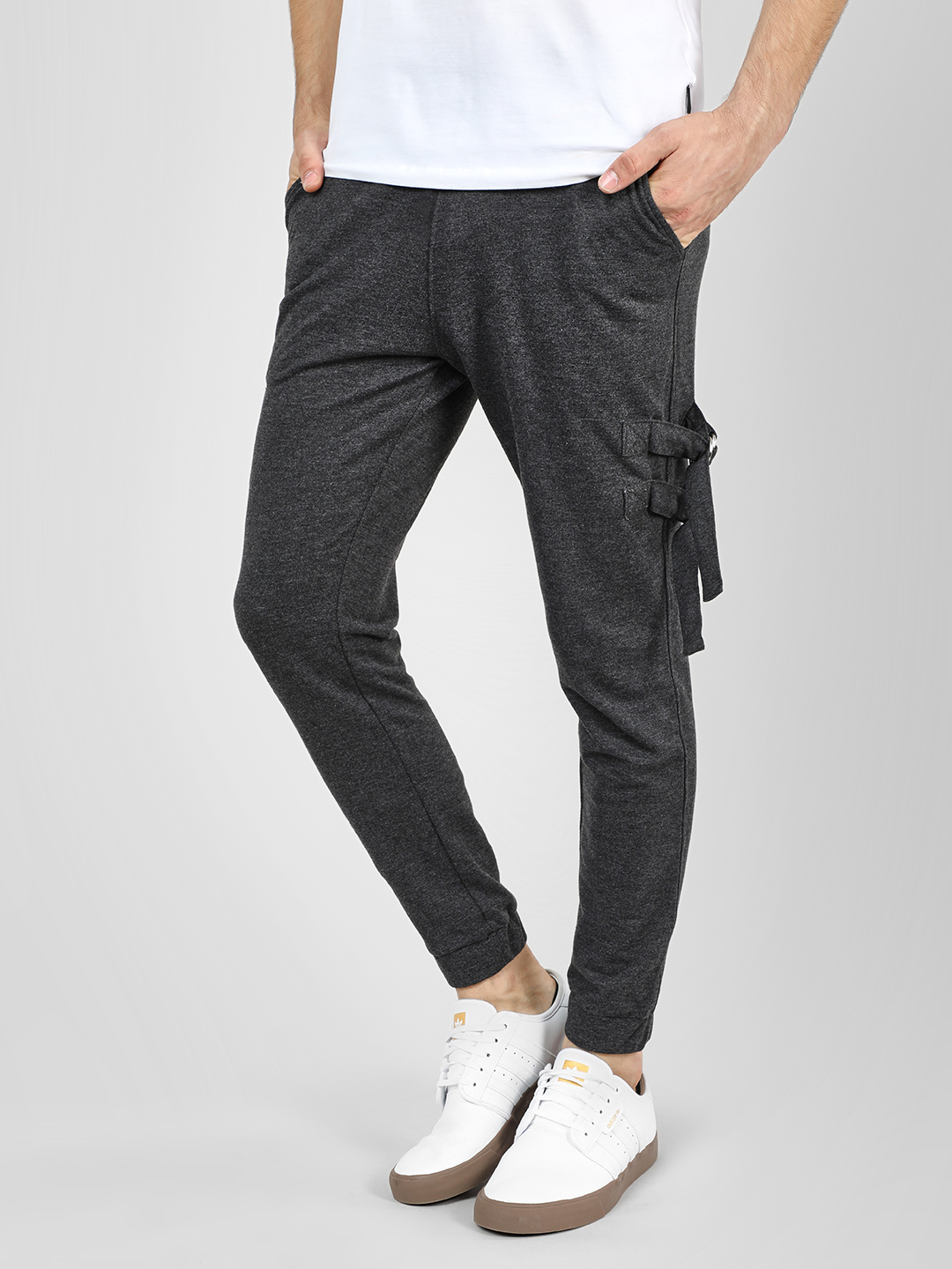 Fighting Fame Grey Elasticated Waist D-Ring Joggers 1