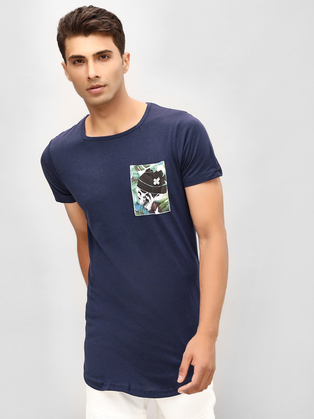 Kultprit Navy Square Neck T-Shirt With Patch Pocket 1