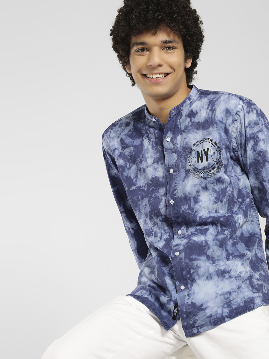 K Denim Blue KOOVS Washed Print Denim Shirt 1