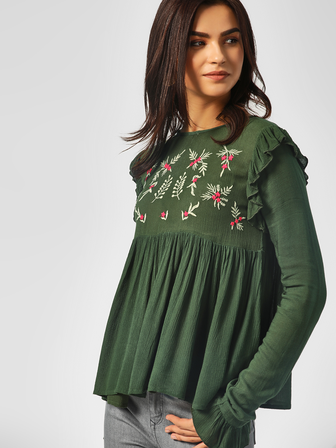 KOOVS Verdant Green Floral Embroidered Flared Top 1