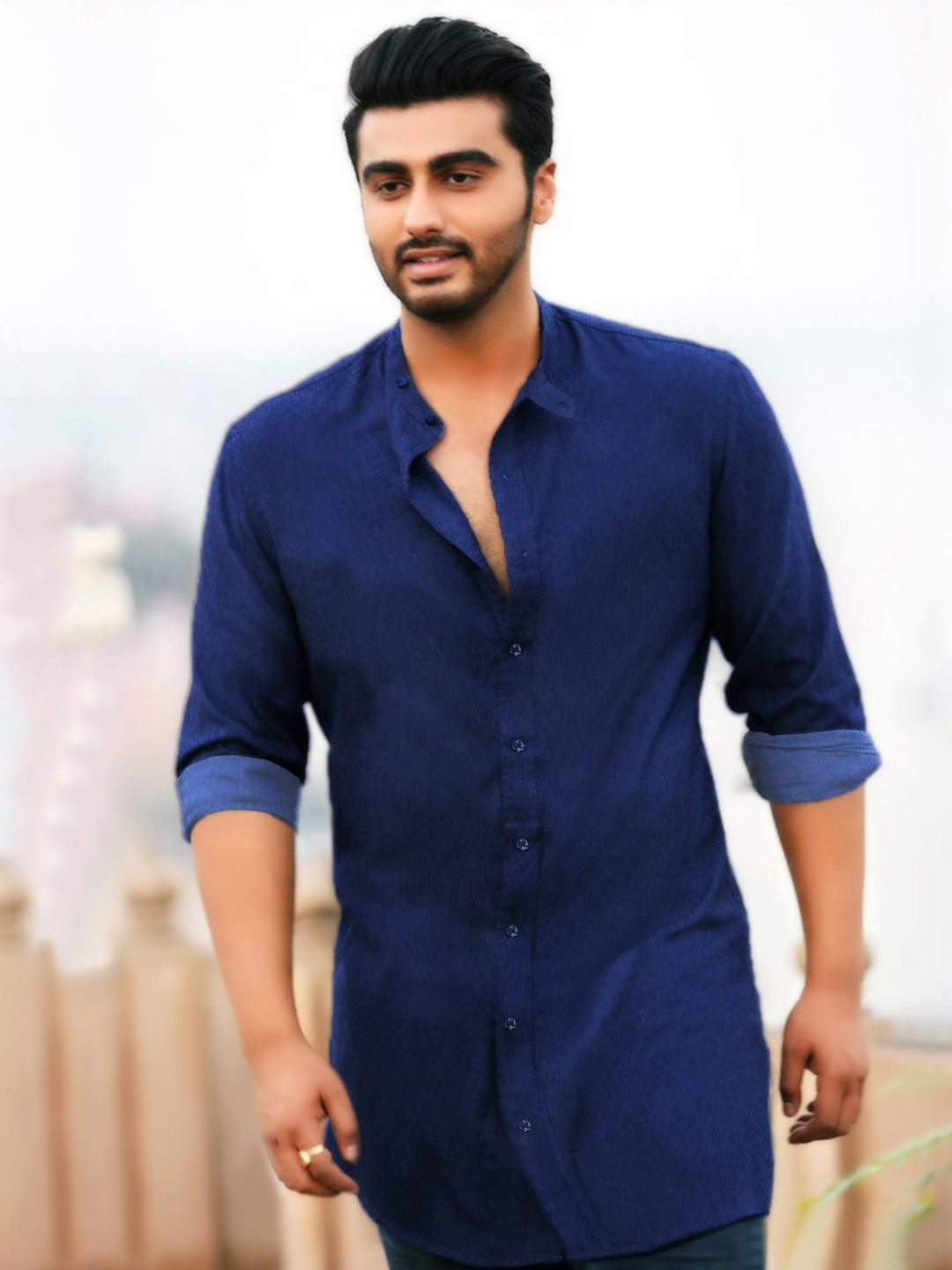 Bollywoo Blue In The Style Of Arjun Kapoor Longline Shirt 1