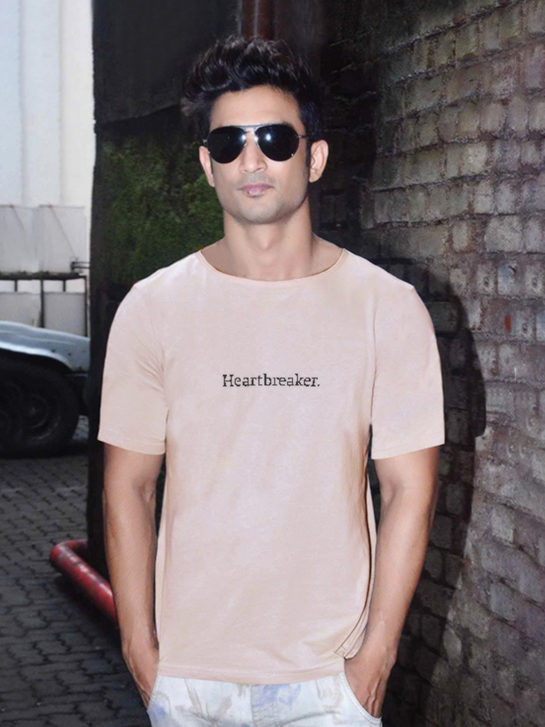 Bollywoo Beige In The Style Of Sushant Rajput Heartbreaker Print T-shirt 1