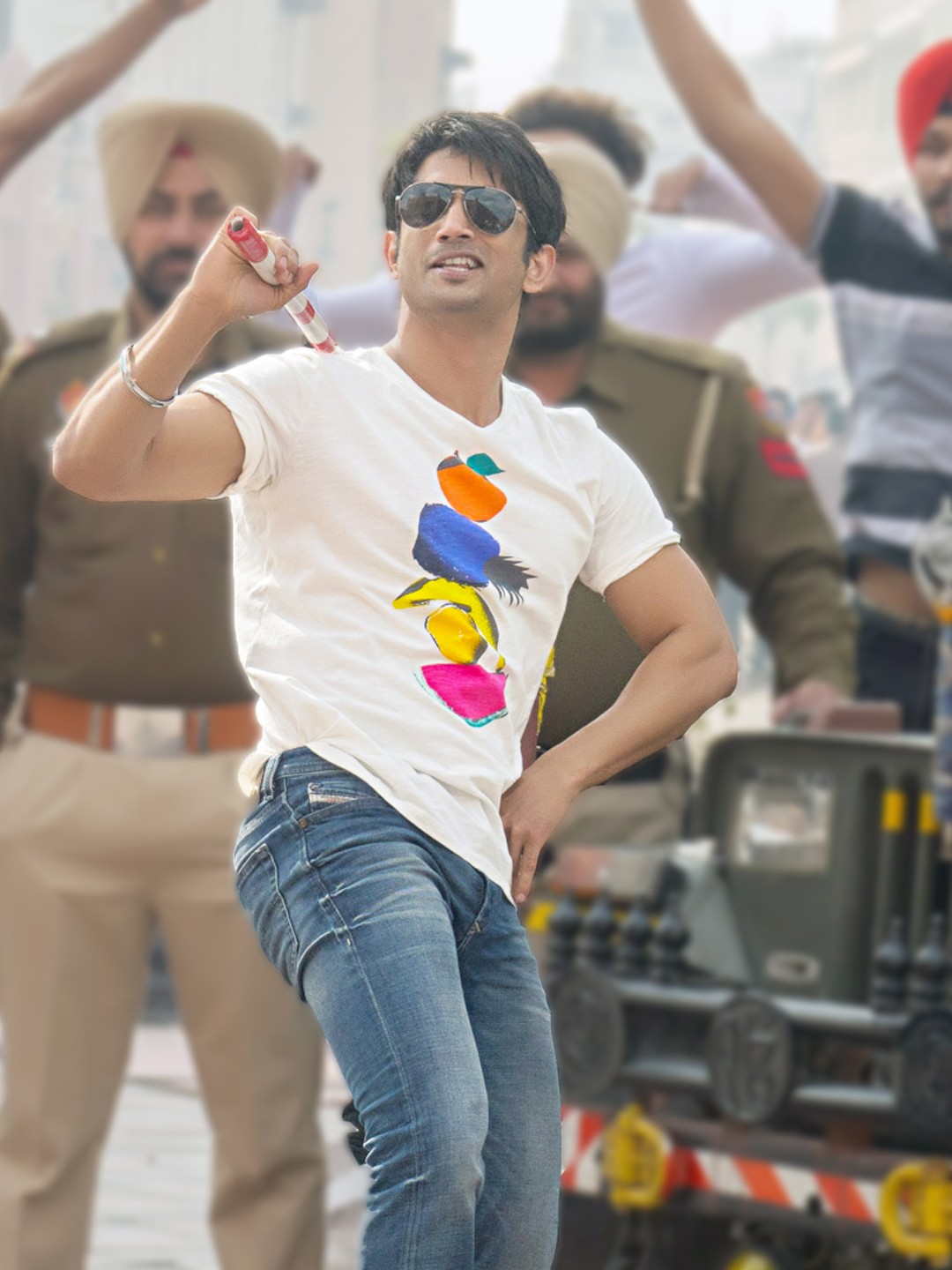 Bollywoo White D In The Style Of Sushant Rajput Fruit Print T-Shirt 1