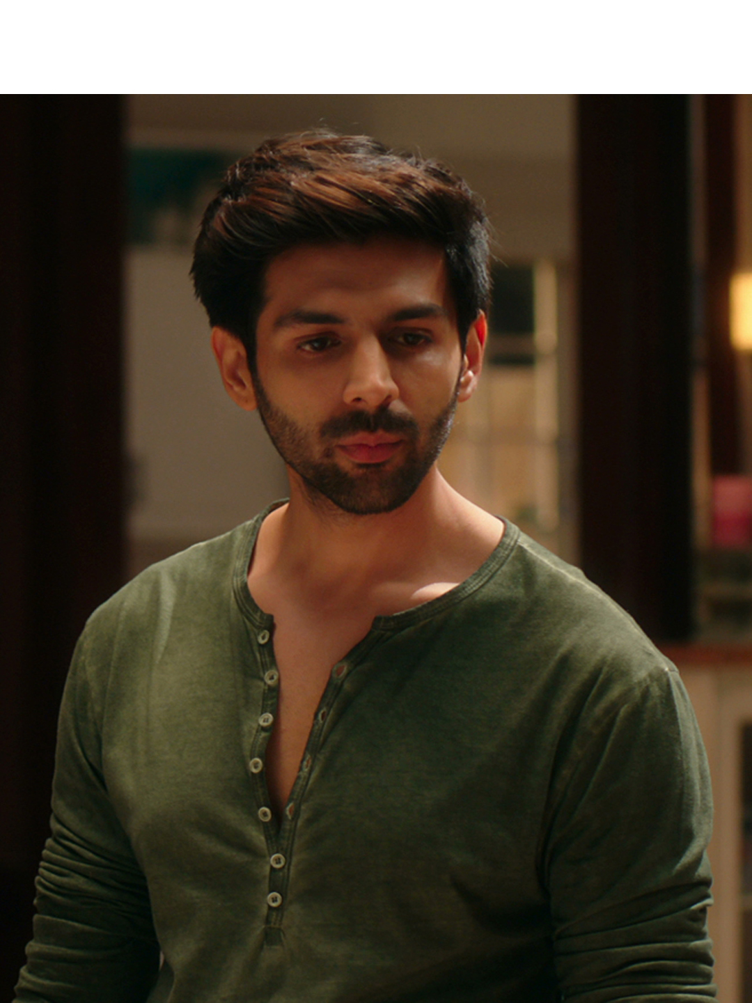 Bollywoo Green In The Style Of Kartik Aryan Henley T-Shirt 1