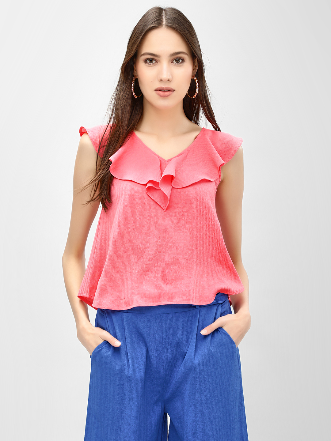 KOOVS Pink Ruffle V-Neck Sleeveless Top 1