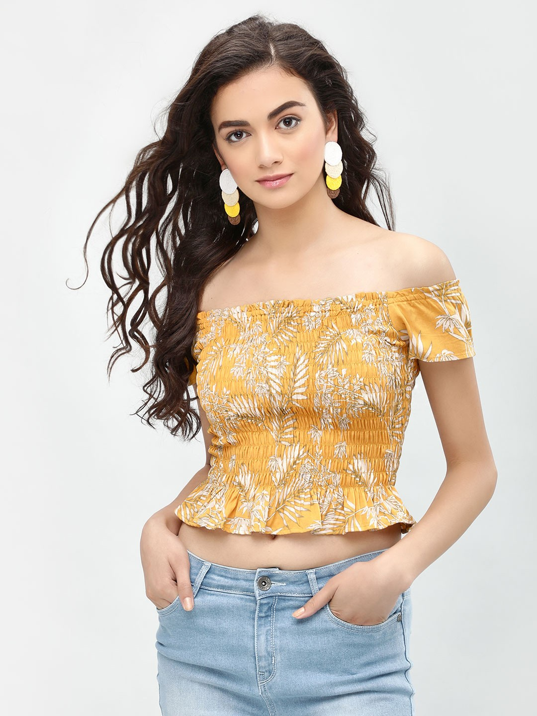 New Look Yellow Pattern Leaf Print Cropped Off-Shoulder Top 1