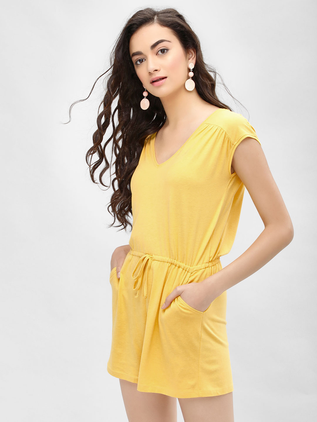 New Look dark yellow Basic V-Neck Playsuit 1