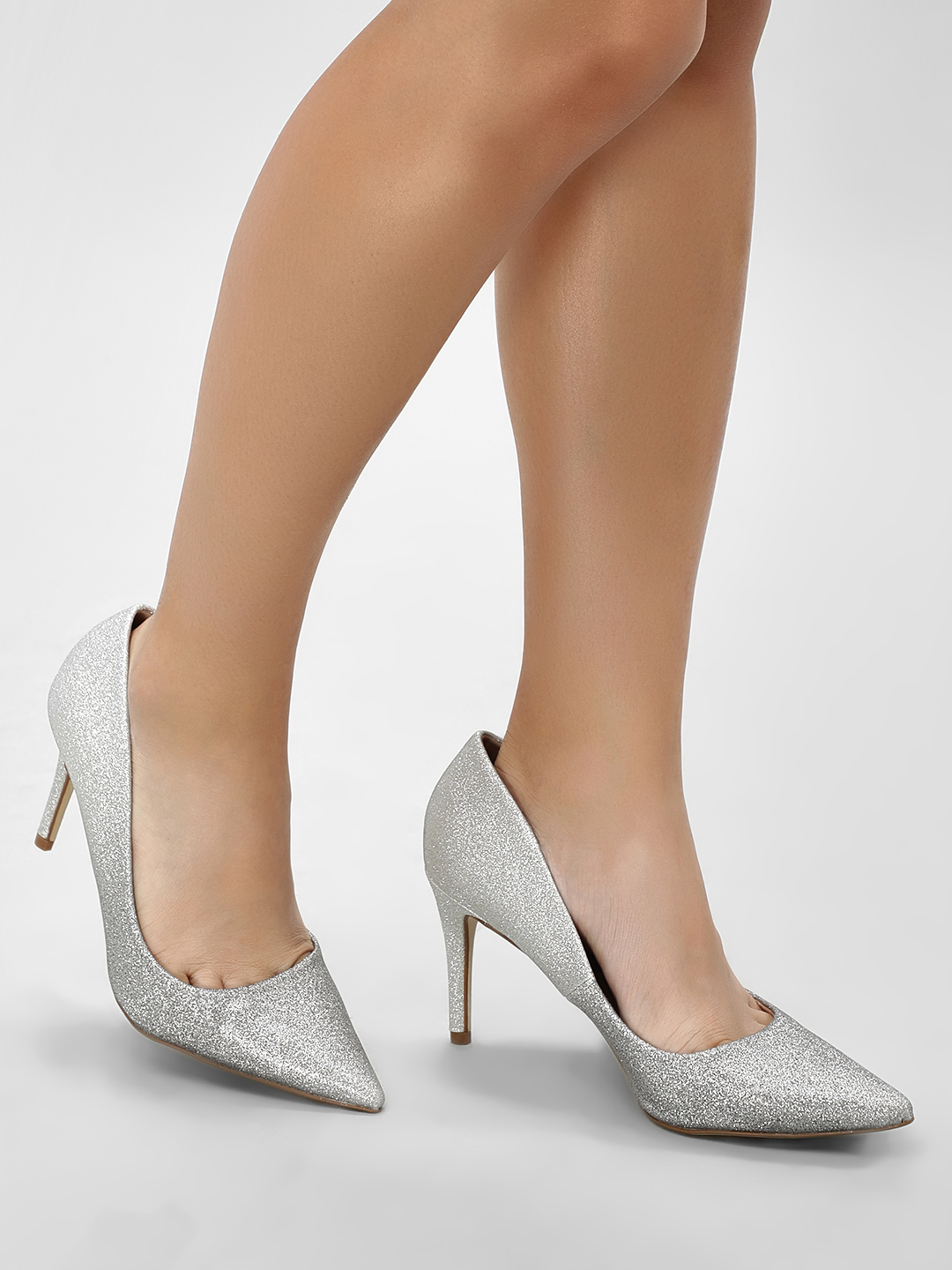 New Look Silver Ombre Glitter Pointed Court Pumps 1