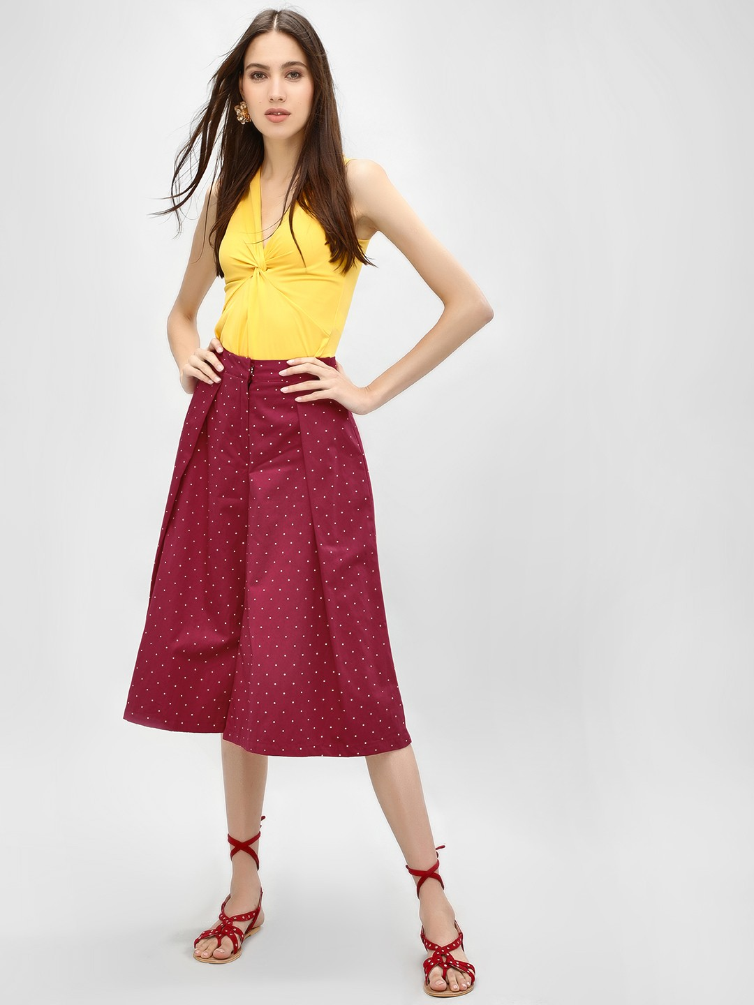 Boho Indian DARK RED Pindot Flared Tailored Culottes 1