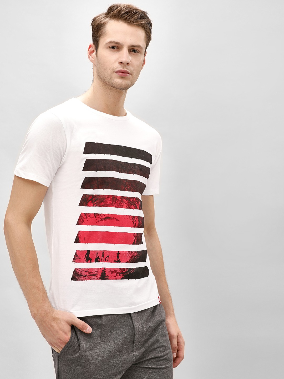 Gully White Ombre Striped Print T-Shirt 1