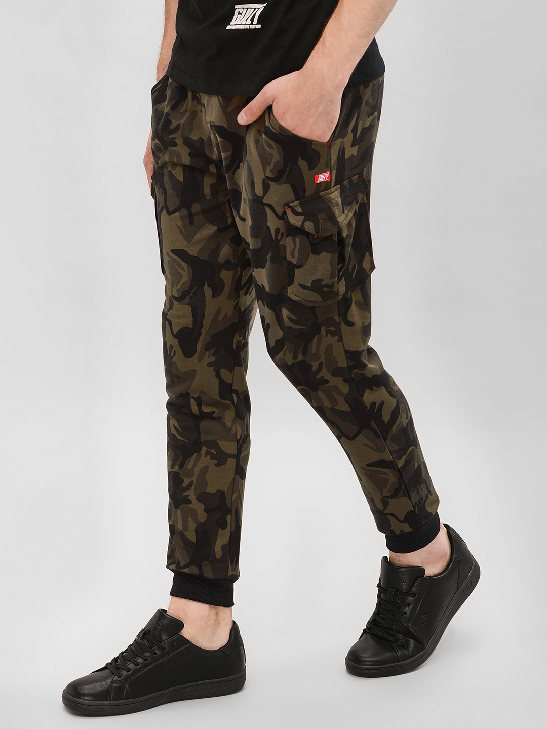 Gully Green Cuffed Joggers With Utility Pockets 1